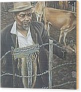 Cattle And African Rancher Wood Print