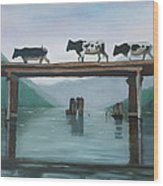 Cattle Crossing Wood Print