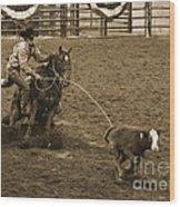 Cattle Roping In Colorado Wood Print