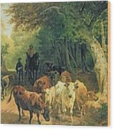 Cattle Watering In A Wooded Landscape Wood Print