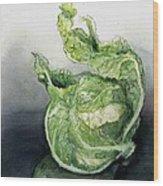 Cauliflower In Reflection Wood Print