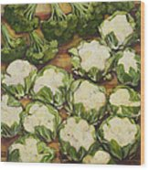 Cauliflower March Wood Print by Jen Norton