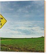 Caution Open Range Wood Print