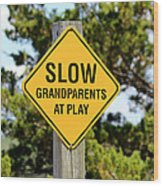 Caution Sign Wood Print