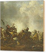 Cavalry Attacking Infantry Wood Print