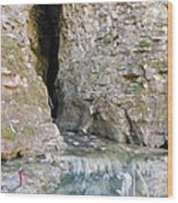 Cave Entrance And Mossy Waterfall At Indian Run 1 Wood Print
