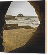 Cave View Of Rocks Near San Francisco Ca Cliff House Wood Print