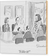 Caveman Stands At Head Of Table In Boardroom Wood Print