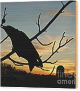 Cawcaw Over Sunset Silhouette Art Wood Print
