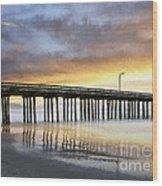 Cayucos Pier Reflected Impasto Wood Print