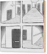 Cctv: The Outtakes -- Four Panels Of Security Wood Print