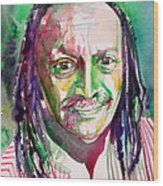 Cecil Taylor - Watercolor Portrait Wood Print