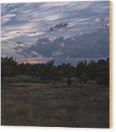 Cedar Park Texas Cedar And Clouds Sunset Wood Print