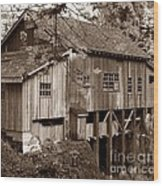 Cedar Creek Grist Mill Sepia Wood Print