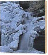 Cedar Falls In Winter At Hocking Hills Wood Print by Dan Sproul