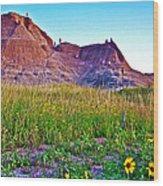 Cedar Pass At Dusk In Badlands National Park-south Dakota Wood Print