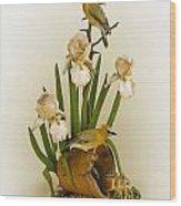 Cedar Waxwings And Iris Wood Print