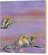 Bohemian Waxwings Birds Wood Print