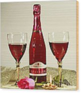 Celebrate With Sparkling Rose Wine Wood Print