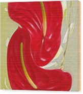Celebration - Red Anthurium And White Orchids  Wood Print