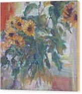Sale - Sunflowers In Window Light - Original Impressionist - Large Oil Painting Wood Print