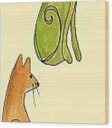 Celery And Carrots. A Pair Of Silly Cats.  Wood Print