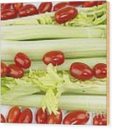 Celery And Tomatoes Wood Print