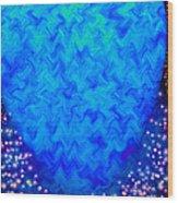 Celestial Blue Heart Wood Print