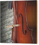 Cello Bridge And Beethoven Wood Print