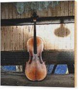 Cello Neck Blues Wood Print
