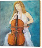 Cello Player Wood Print