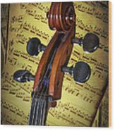 Cello Scroll With Sheet Music Wood Print