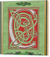Celtic Christmas C Initial Wood Print