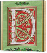 Celtic Christmas D Initial Wood Print
