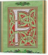 Celtic Christmas F Initial Wood Print