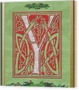 Celtic Christmas Initial Y Wood Print
