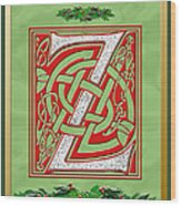 Celtic Christmas Initial Z Wood Print