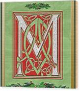 Celtic Christmas M Initial Wood Print