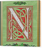 Celtic Christmas N Initial Wood Print