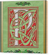 Celtic Christmas P Initial Wood Print