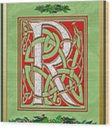 Celtic Christmas R Initial Wood Print