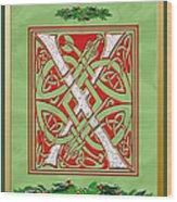 Celtic Christmas X Initial Wood Print