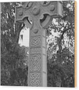 Celtic Cross In Black And White Wood Print