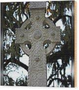Celtic Cross In Savannah Wood Print
