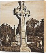 Celtic Cross In Sepia 1 Wood Print