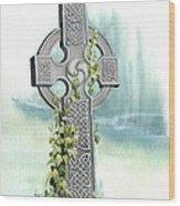 Celtic Cross With Ivy II Wood Print