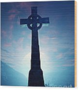 Celtic Cross With Moon Wood Print
