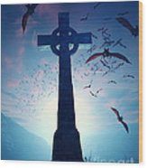 Celtic Cross With Swarm Of Bats Wood Print