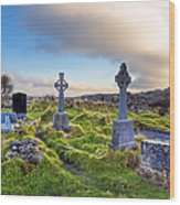 Celtic Crosses In An Old Irish Cemetery Wood Print by Mark E Tisdale