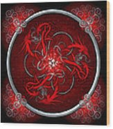 Celtic Dragons - Red Wood Print by Richard Barnes